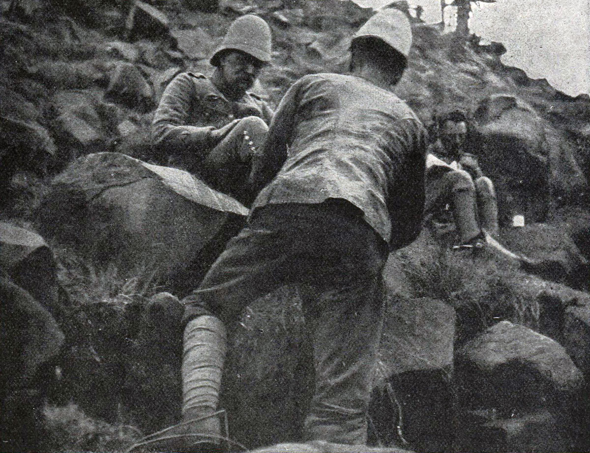 General Warren at the bottom of Spion Kop during the Battle of Spion Kop on 24th January 1900 in the Boer War