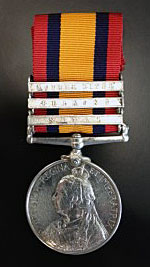 Queen's South Africa Medal with clasps for 'Natal' 'Belmont' and 'Modder River' in the Boer War