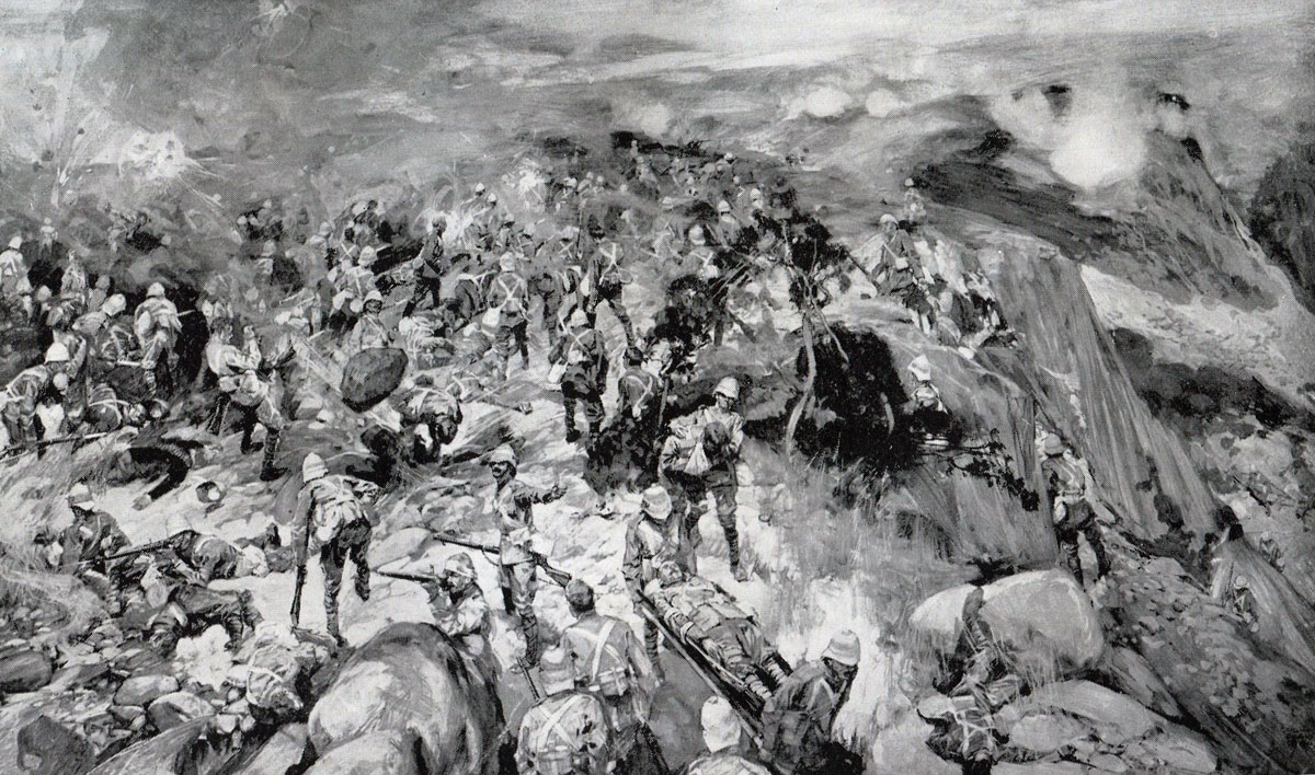 Thorneycroft's troops on Spion Kop in the Battle of Spion Kop on 24th January 1900 in the Boer War: picture by Frank Craig from a sketch by an officer