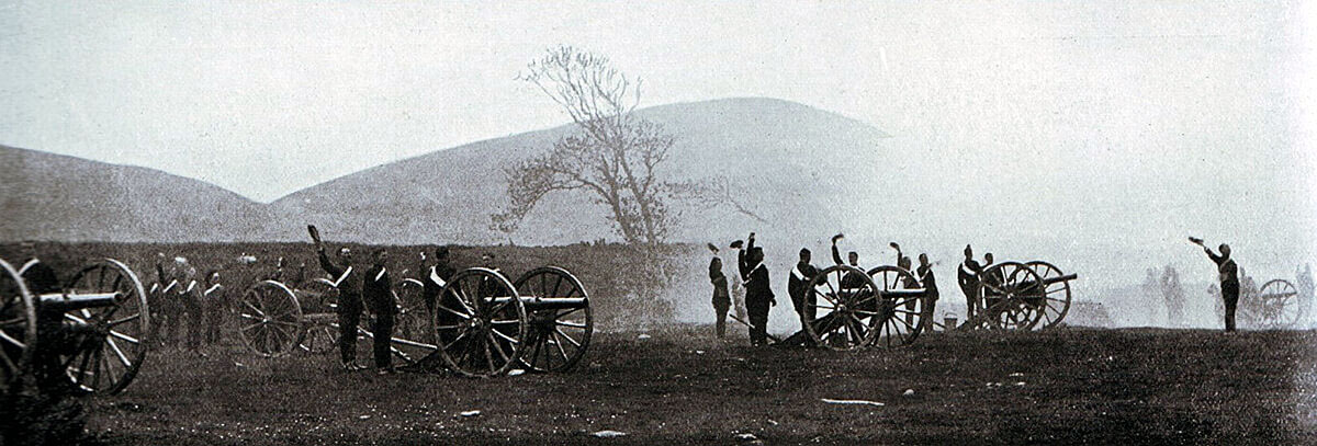 Royal Horse Artillery 12 pounders in action on exercise: Battle of Magersfontein on 11th December 1899 in the Boer War