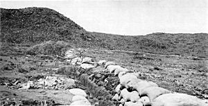 Boer trench at the base of the hill at the Battle of Magersfontein 11th December 1899 in the Boer War
