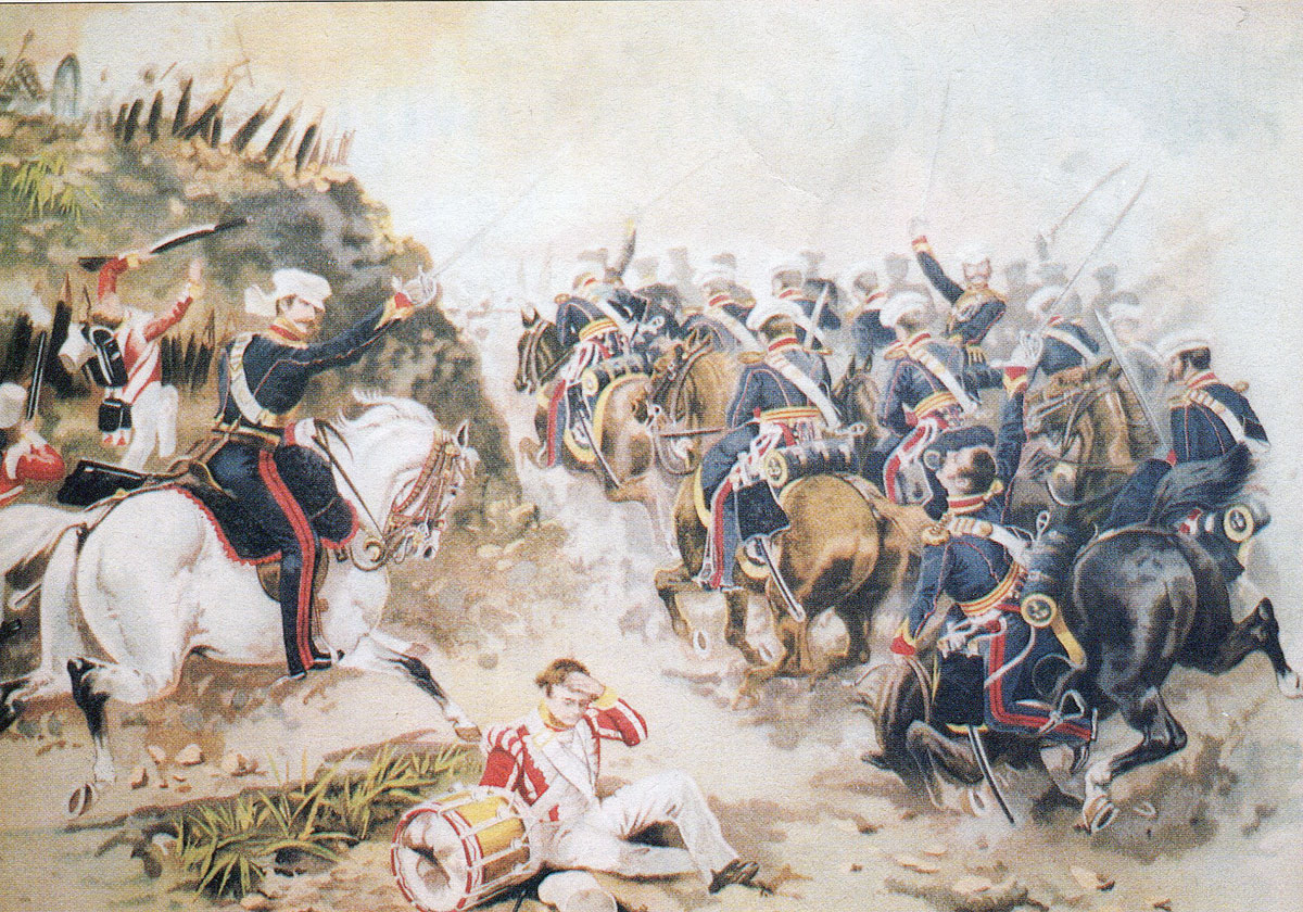 3rd King's Own Dragoons at the Battle of Sobraon on 10th February 1846 during the First Sikh War: picture by Harry Payne