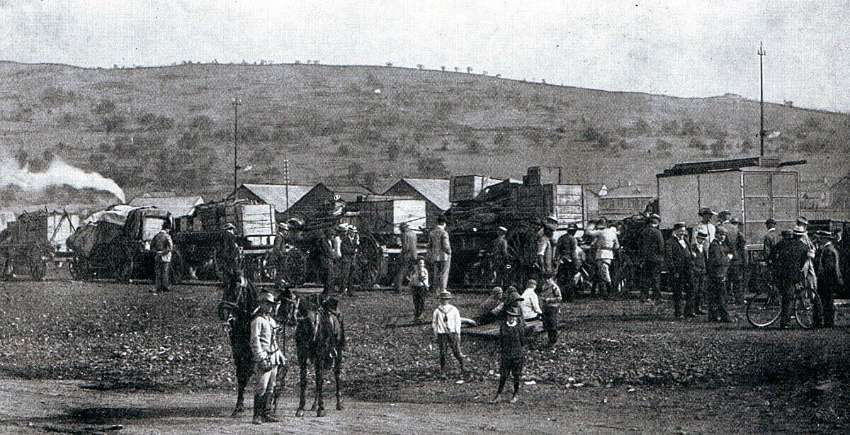 Boer ammunition train leaving Pretoria for the Front: Battle of Modder River on 28th November 1899 in the Boer War