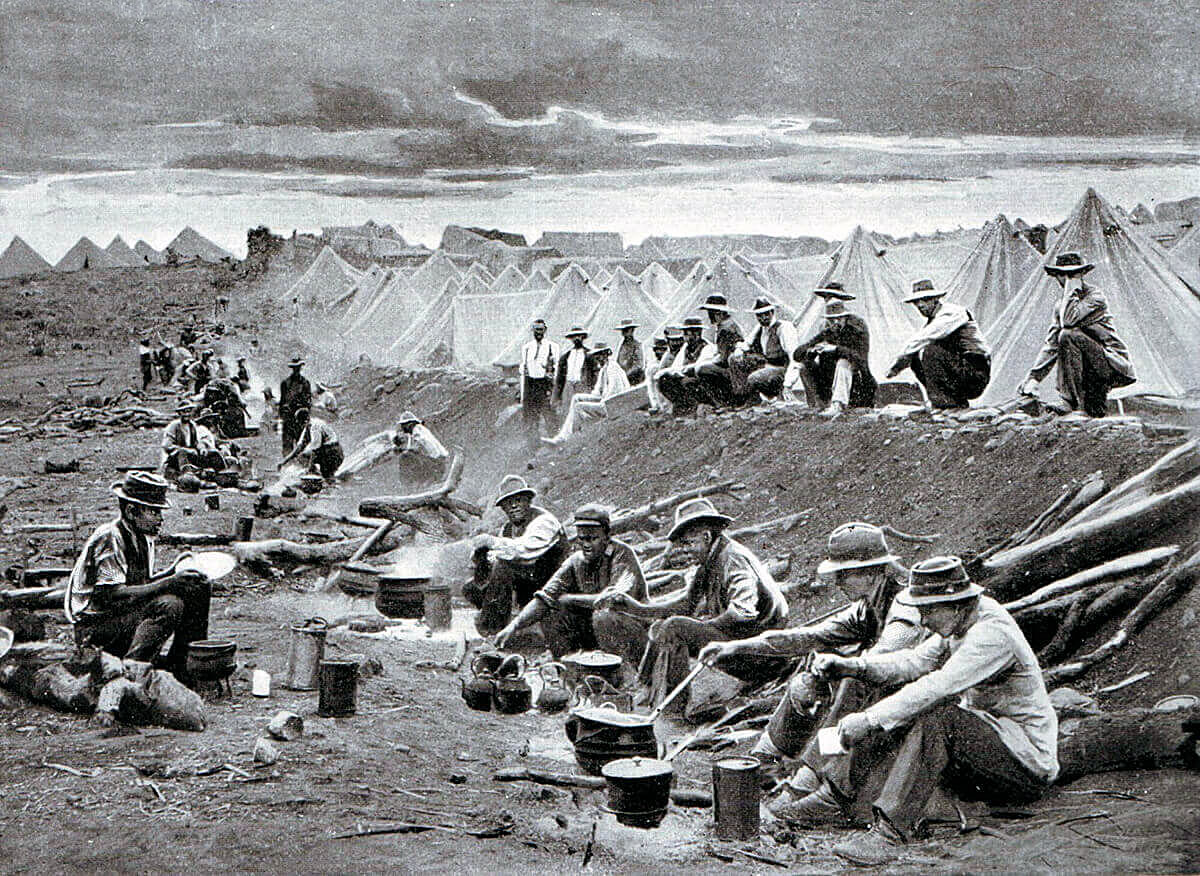 Boer laager or encampment during the South African or Boer War: Battle of Stormberg 9th/10th December 1899 in the Boer War