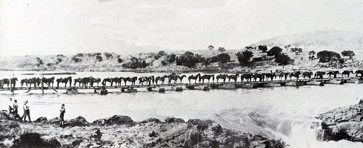 British cavalry crossing the Tugela River on 27th February 1900 during the Battle of Pieters in the Great Boer War