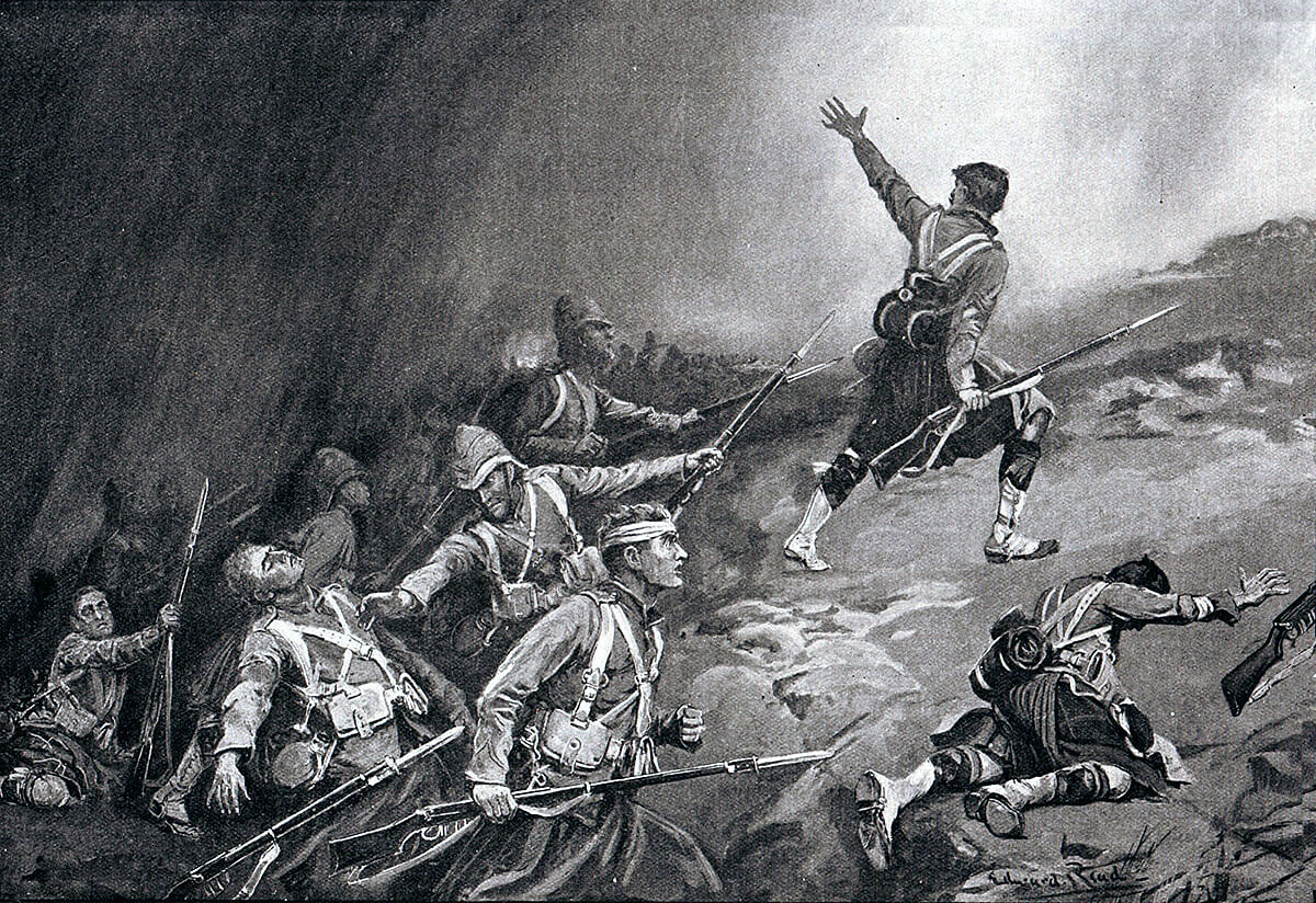 2nd Black Watch attempting an attack on the Boer trench at the Battle of Magersfontein on 11th December 1899 in the Boer War: picture by Edward Read