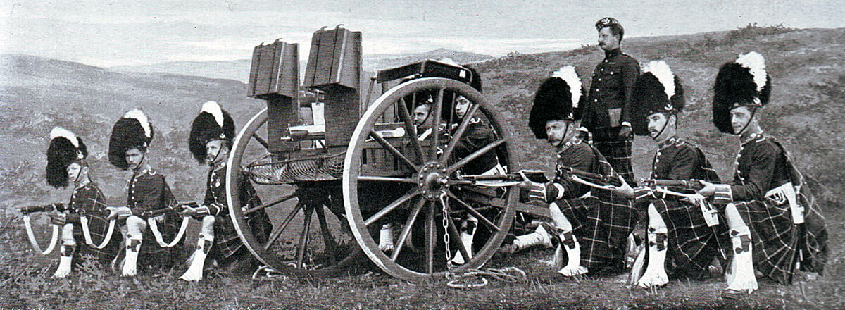 Maxim Gun detachment of 2nd Seaforth Highlanders in Britain. The detachment was almost wiped out providing supporting fire to the Highland Brigade at the Battle of Magersfontein on 11th December 1899 in the Boer War