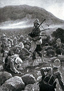 Corporal McKay of 1st Argylls rallying his comrades at the Battle of Magersfontein on 11th December 1899 in the Boer War