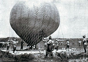 Launching the balloon during the Battle of Magersfontein on 11th December 1899 in the Boer War