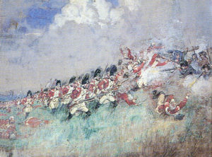 43rd Regiment at the Battle of Bunker Hill on 17th June 1775 in the American Revolutionary War