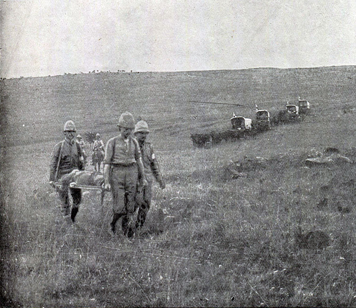 Bringing in British casualties after the Battle of Spion Kop on 24th January 1900 in the Boer War