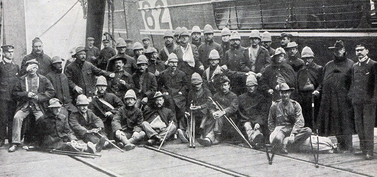 British wounded from Spion Kop and Colenso on board ship for 'Blighty': Battle of Spion Kop on 24th January 1900 in the Boer War