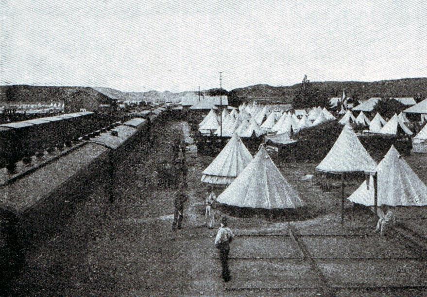 British depot camp at Orange River Bridge in 1899: Battles of Belmont on 23rd November 1899 in the Great Boer War
