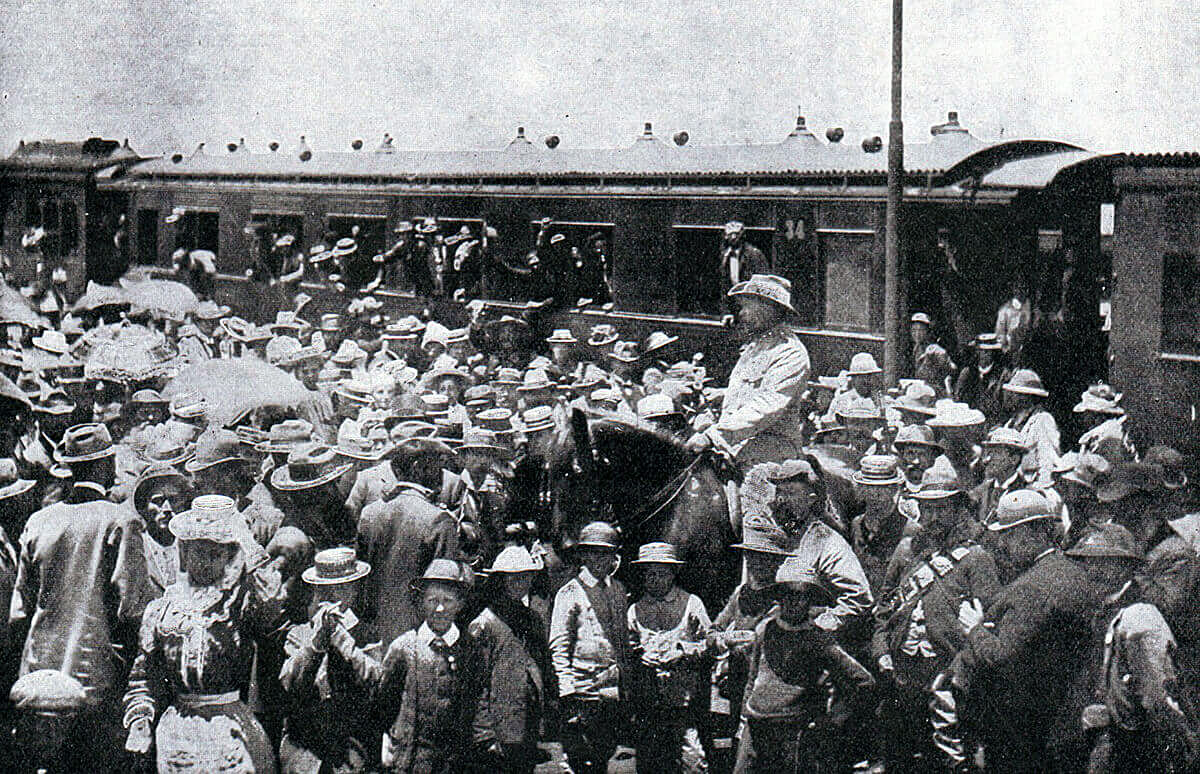 Boers leaving Pretoria for the front during the Boer War: Battle of Magersfontein on 11th December 1899 in the Boer War