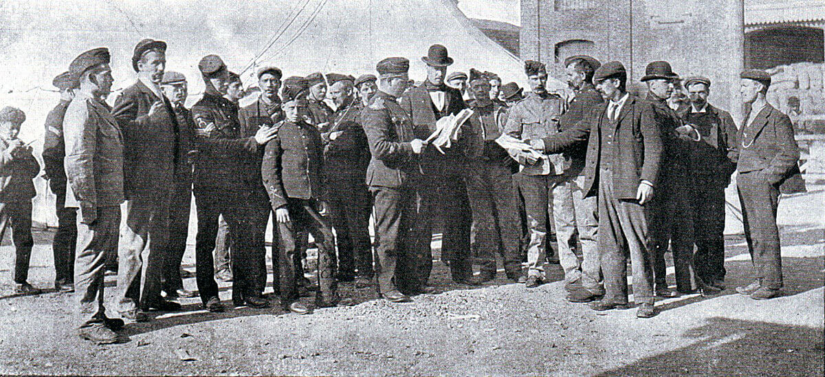 British reservists assembling in Southampton for the war in South Africa in 1899