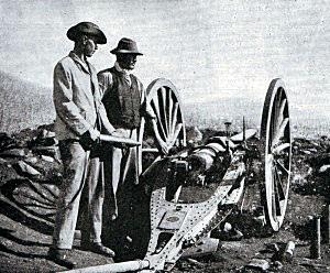 Boer quick firing field gun and crew:Battle of Spion Kop on 24th January 1900 in the Boer War