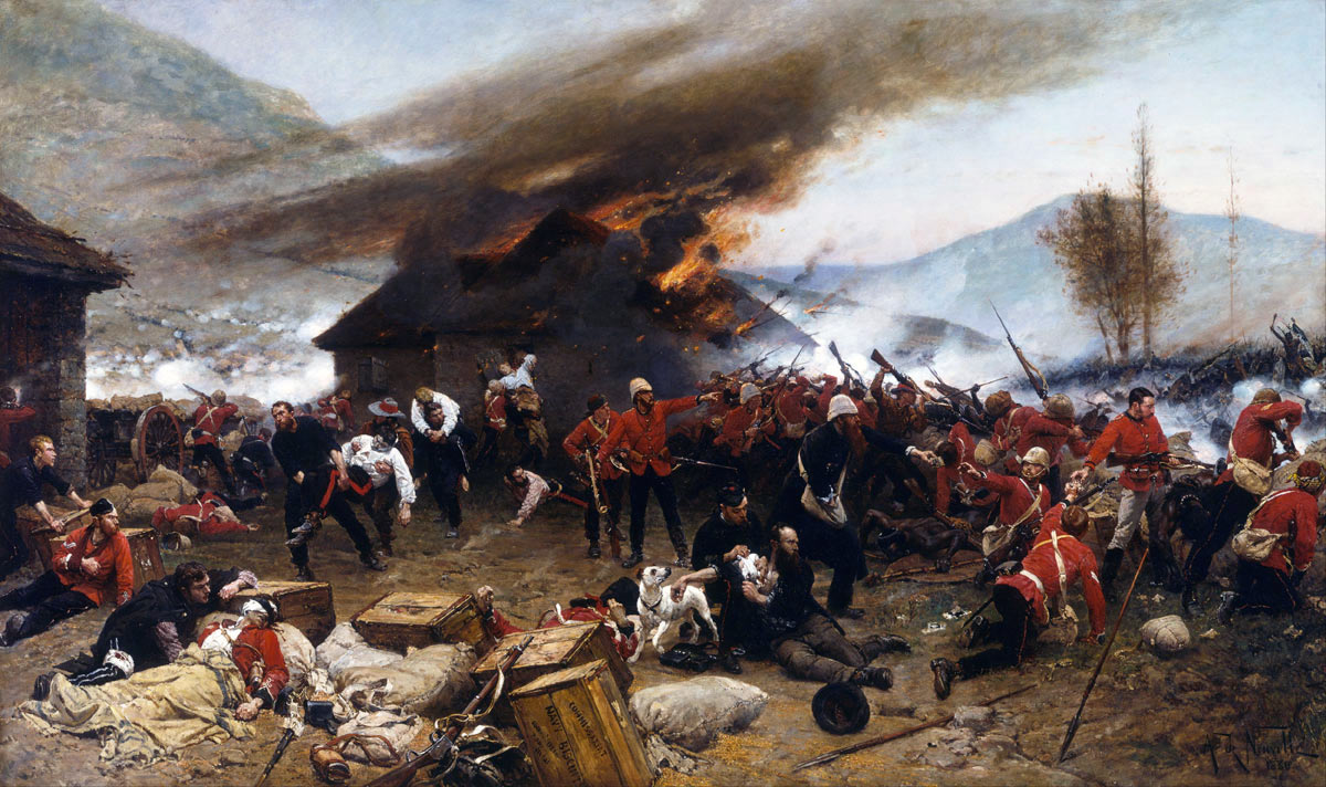 Defence of Rorke's Drift on 22nd January 1879 in the Zulu War: picture by Alphonse de Neuville