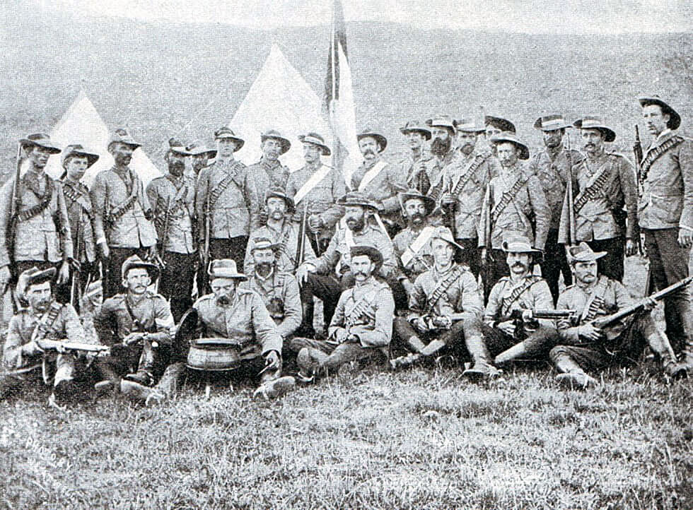 Boer police at the front in the Boer War: Battle of Graspan on 25th November 1899 in the Great Boer War