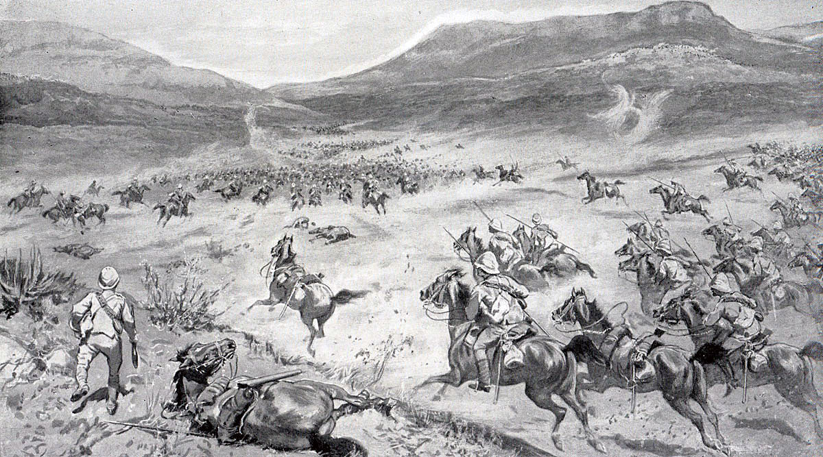 General French's Cavalry Division at Klip Drift: Battle of Paardeberg on 27th February 1900 in the Great Boer War: picture by W.S. Small