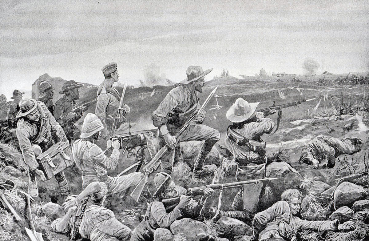 'Hot work in the trenches': Siege of Mafeking 14th October 1899 to 16th May 1900 in the Great Boer War: picture by Richard Caton Woodville
