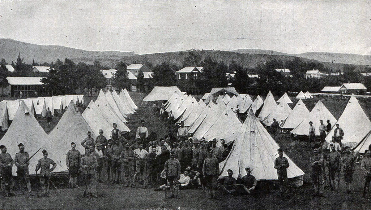 Thorneycroft's Mounted Infantry in camp: Battle of Spion Kop on 24th January 1900 in the Boer War