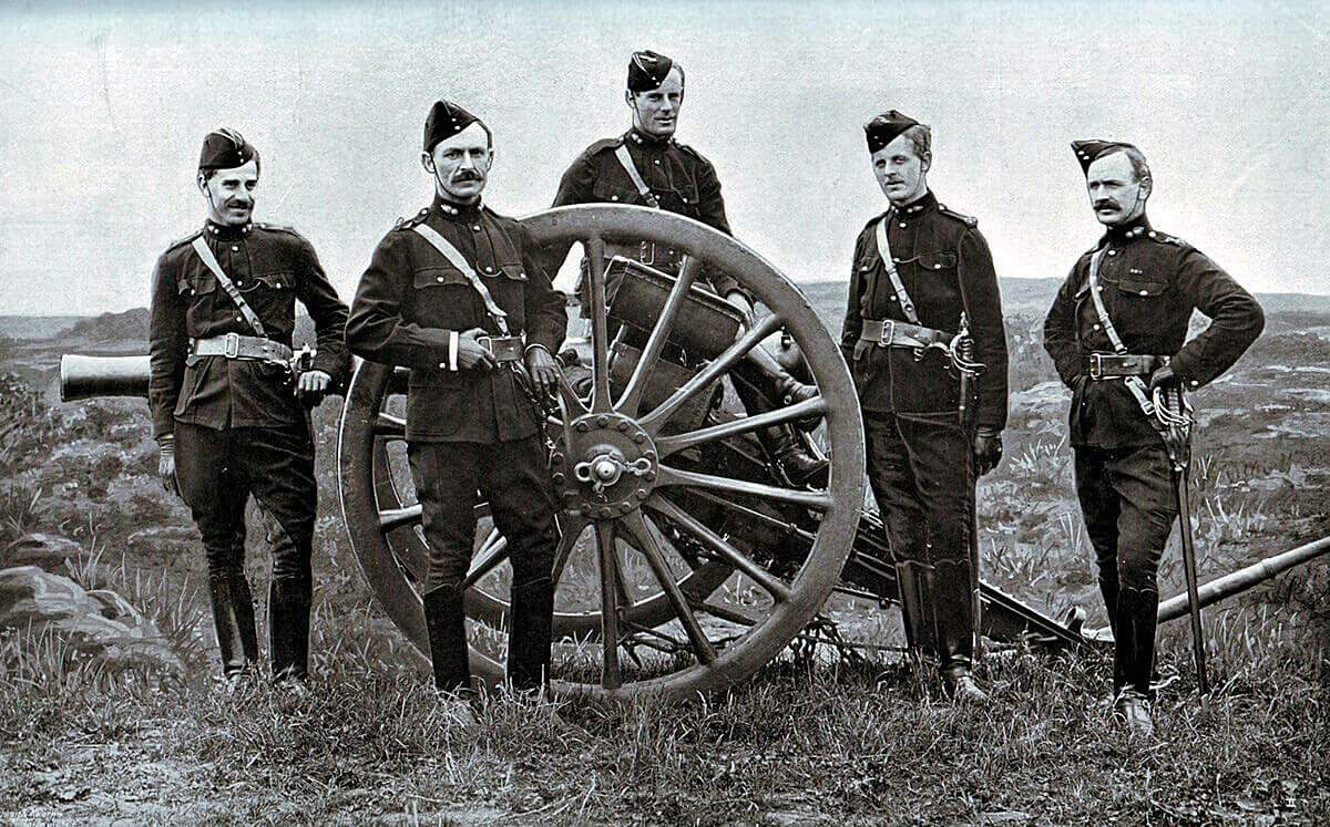 Officers of 77th Field Battery Royal Field Artillery, one of Gatacre's batteries at the Battle of Stormberg on 9th/10th December 1899 in the Boer War, standing by one of the battery's 15 pounder field guns