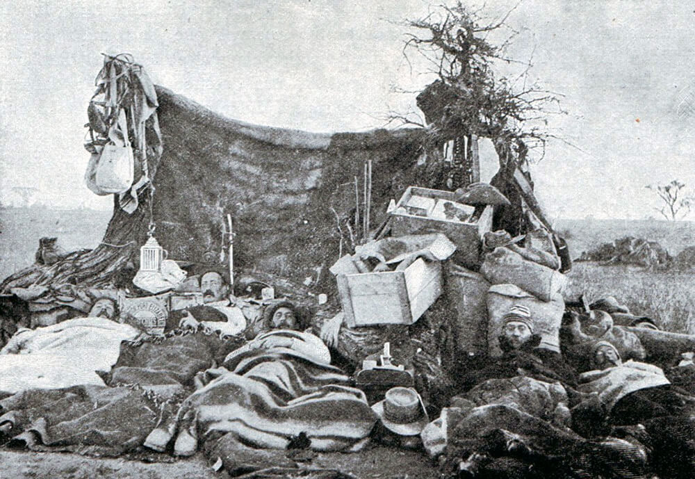 British troops camping in the Veldt during Methuen's march to relieve Kimberley: Battle of Belmont on 23rd November 1899 in the Great Boer War