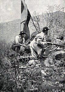 Boer riflemen on Spion Kop at theBattle of Spion Kop on 24th January 1900 in the Boer War