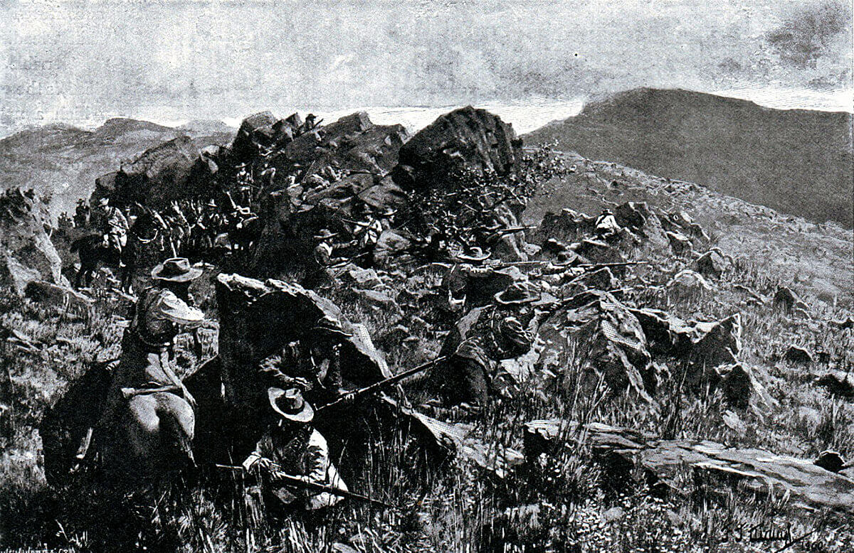 Boers in position on a mountain as at the Battle of Stormberg on 9th/10th December 1899 in the Boer War: picture by J.J. Waugh