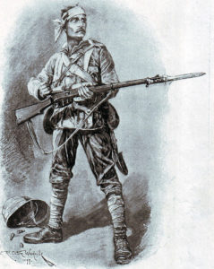 British infantryman in field uniform and equipment: Battle of Talana Hill on 20th October 1899 in the Boer War: picture by Richard Caton Woodville