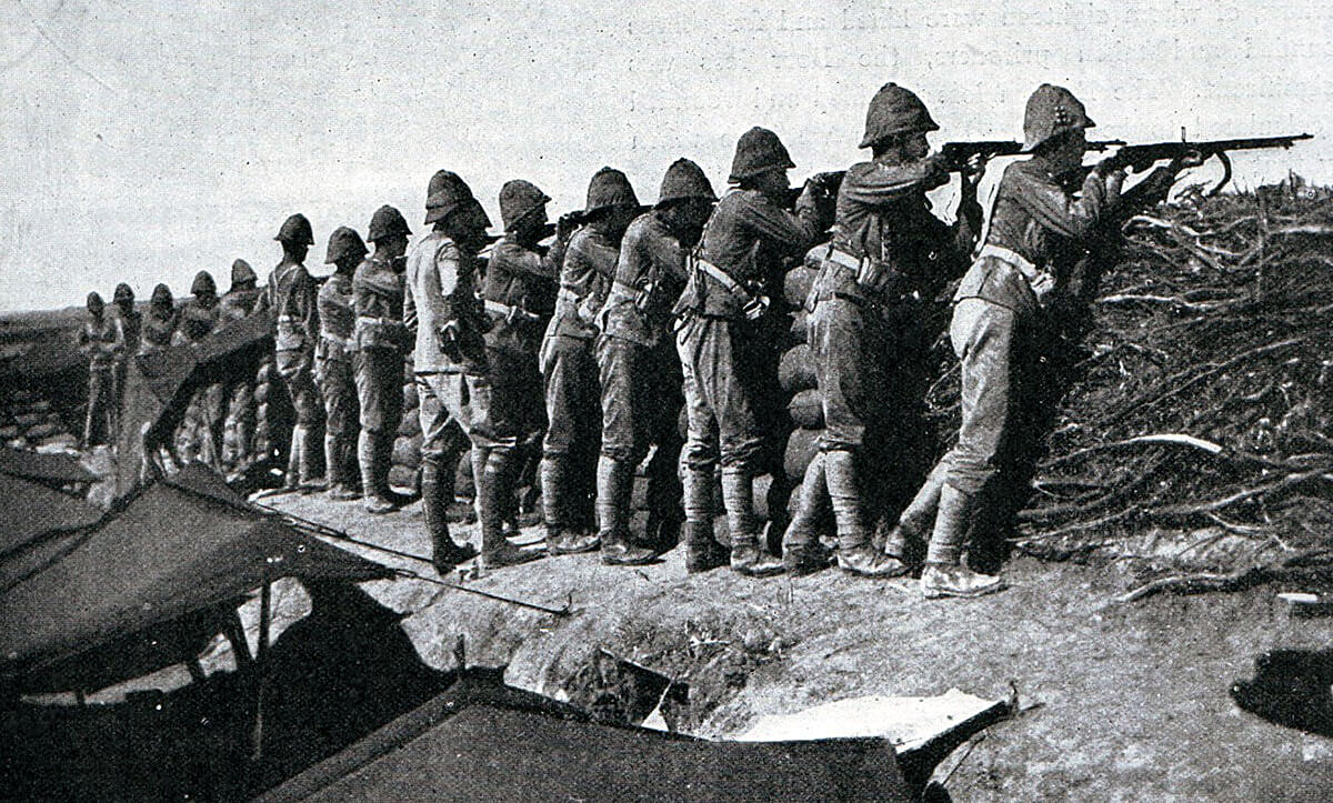 Grenadier Guards manning an emplacement at Modder River after the Battle of Magersfontein on 11th December 1899 in the Boer War