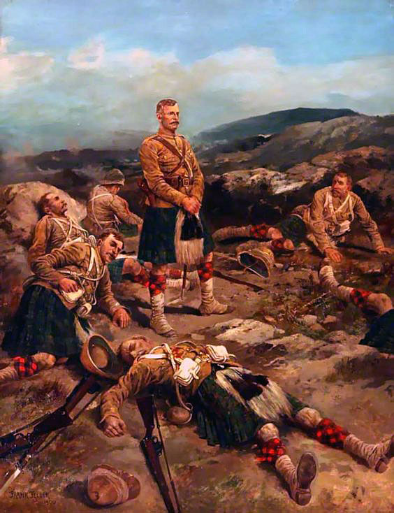 Black Watch after the Highland Brigade's attack at the Battle of Magersfontein on 11th December 1899 in the Boer War: picture by Frank Feller