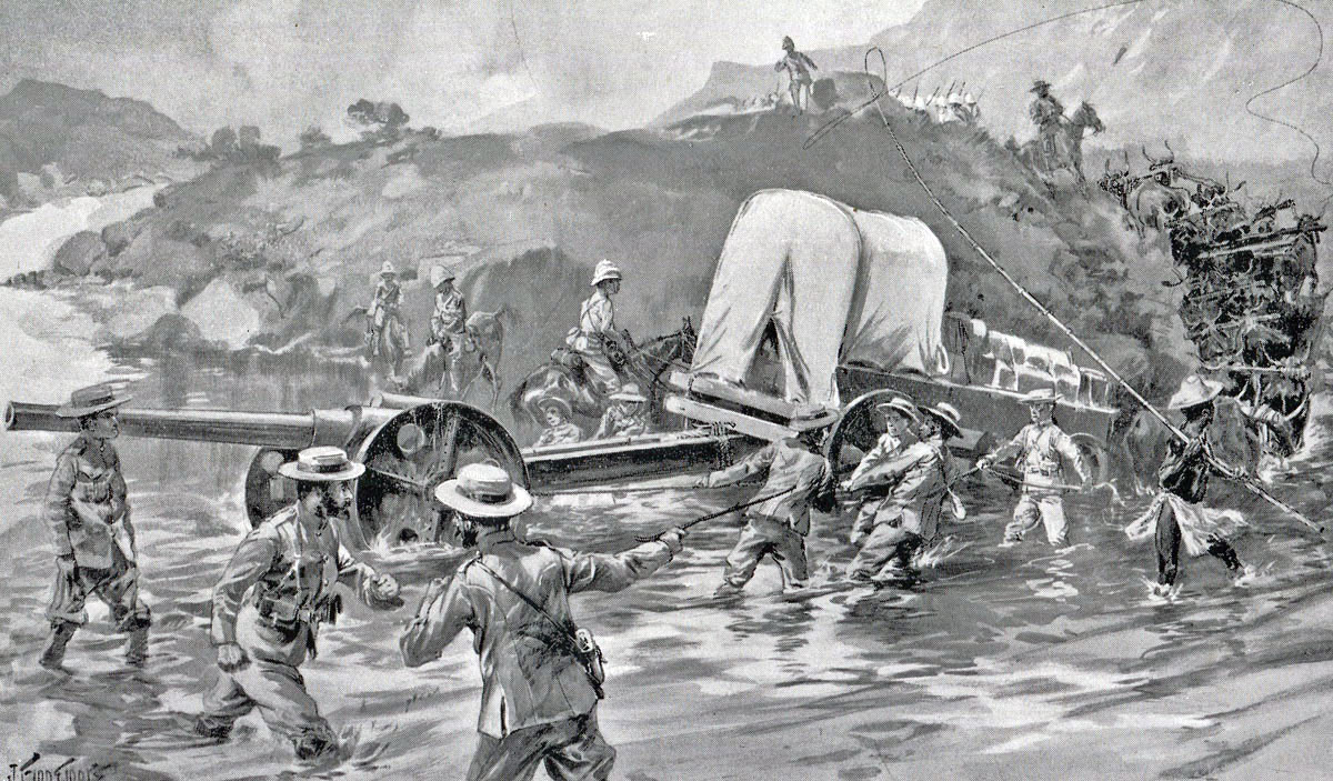 Royal Navy 4.7-inch guns crossing the Tugela River: Siege of Ladysmith, 2nd November 1899 to 27th February 1900 in the Great Boer War: picture by Joseph Finnemore