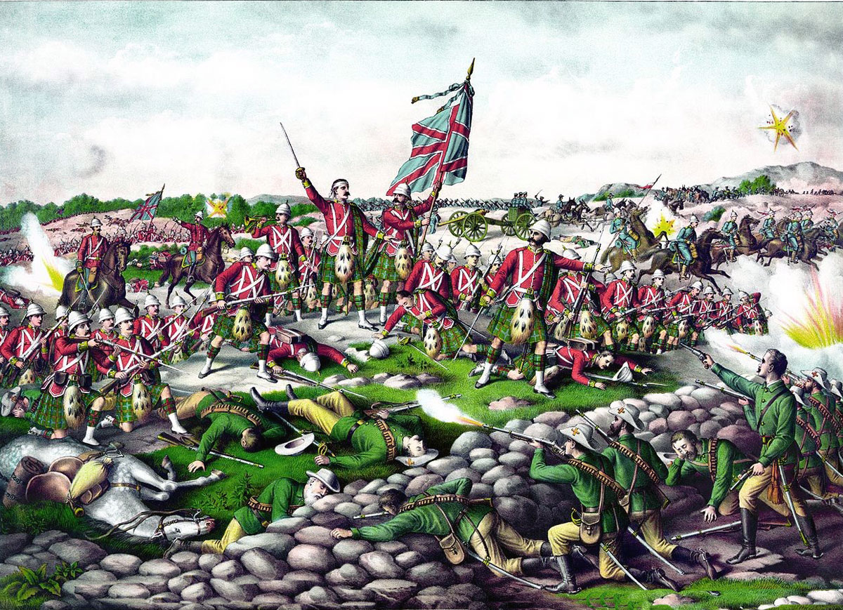 Contemporary propaganda picture of the Battle of Belmont. There were no Scottish regiments present except the Scots Guards who did not wear the kilt: Battle of Belmont on 23rd November 1899 in the Great Boer War
