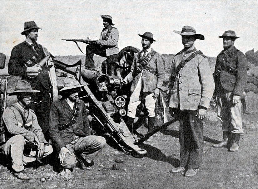 Boers with a gun captured at the Battle of Stormberg on 9th/10th December 1899 in the Boer War