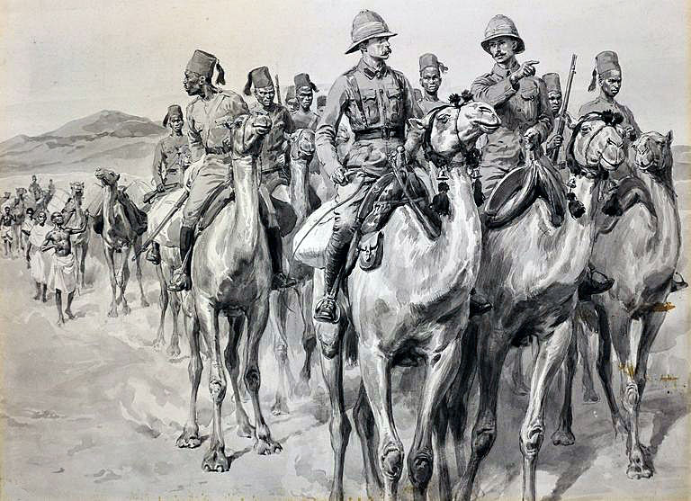 Camel Corps: Battle of Omdurman on 2nd September 1898 in the Sudanese War: picture by Frank Dadds