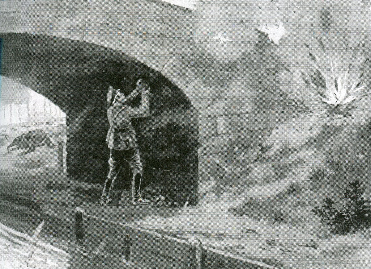 Captain Wright placing explosives under the bridge at Mariette in the Battle of Mons on 23rd August 1914 in the First World War: picture by G.D. Rowlandson