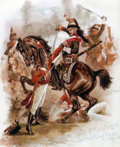 Captain Horne of 3rd Foot Guards attacked by French Dragoons in the Battle of Fuentes de Oñoro on 5th May 1811 in the Peninsular War: picture by Harry Payne