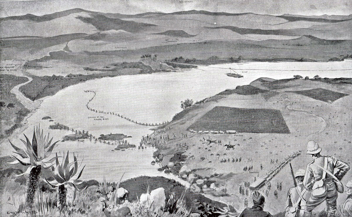 British troops crossing the Tugela River at Potgeiter's Drift: Battle of Val Krantz 5th February 1900 in the Great Boer War: picture by Enoch Ward