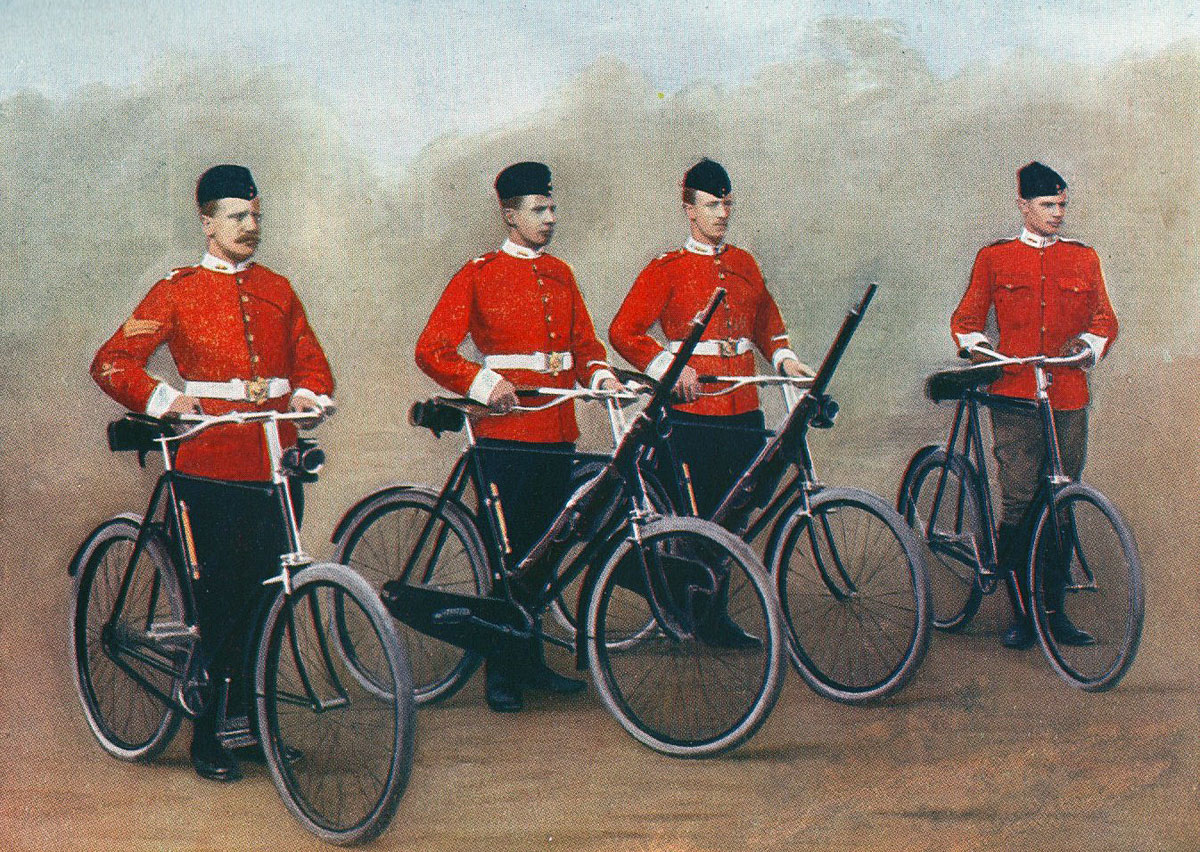 Cyclists of the Lancashire Fusiliers in Home Service uniform: : Battle of Spion Kop on 24th January 1900 in the Boer War