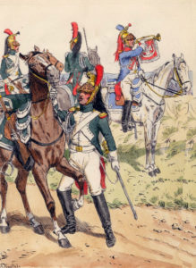 French Dragoons: Battle of Villagarcia on 11th April 1812 in the Peninsular War: picture by Knötel