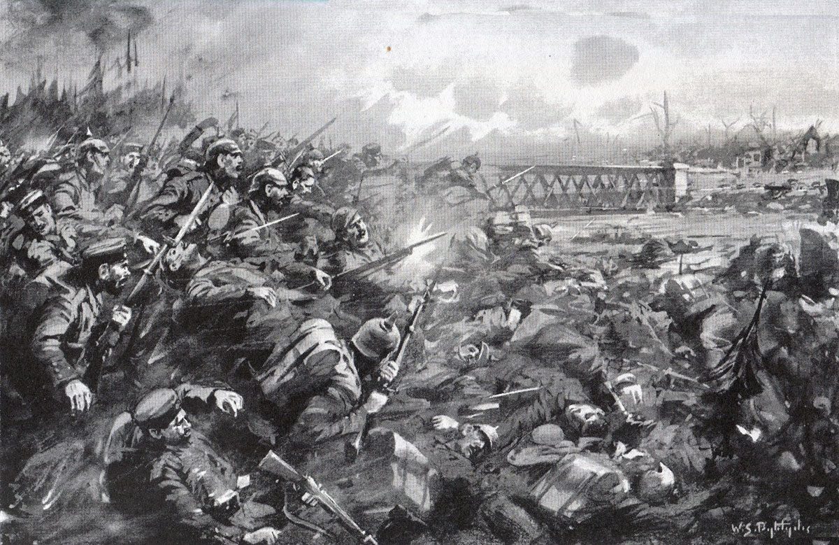 German attack on the Nimy Bridge at the Battle of Mons on 23rd August 1914 in the First World War: picture by W.S. Bagdatopoulos