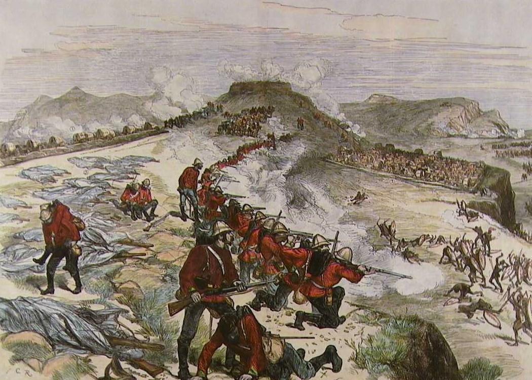 Battle of Khambula on 29th March 1879 in the Zulu War: print by Melton Pryor