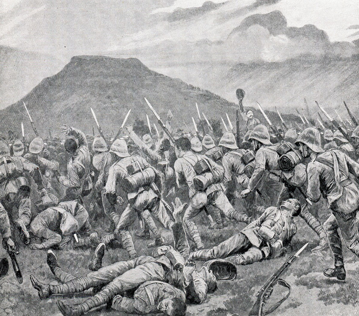 Devons attacking at Wagon Hill: Siege of Ladysmith, 2nd November 1899 to 27th February 1900 in the Great Boer War: picture by Richard Caton Woodville