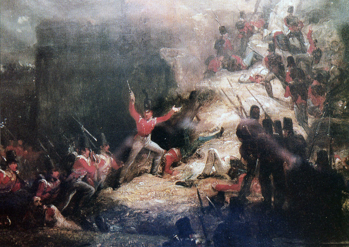 Lieutenant Colonel Macleod leading the 43rd Light Infantry in the Storming of Badajoz on 6th April 1812 in the Peninsular War