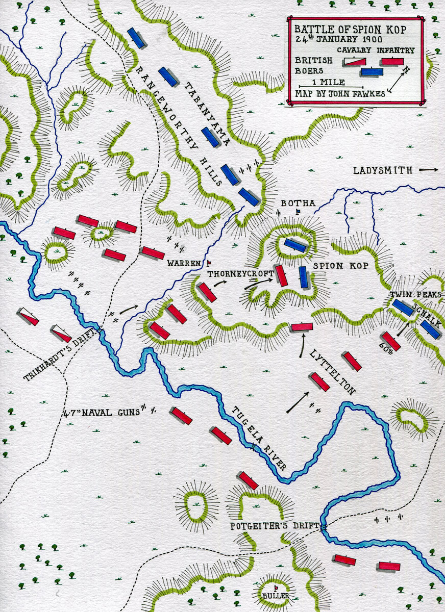 Map of the Battle of Spion Kop on 24th January 1900 in the Boer War: map by John Fawkes