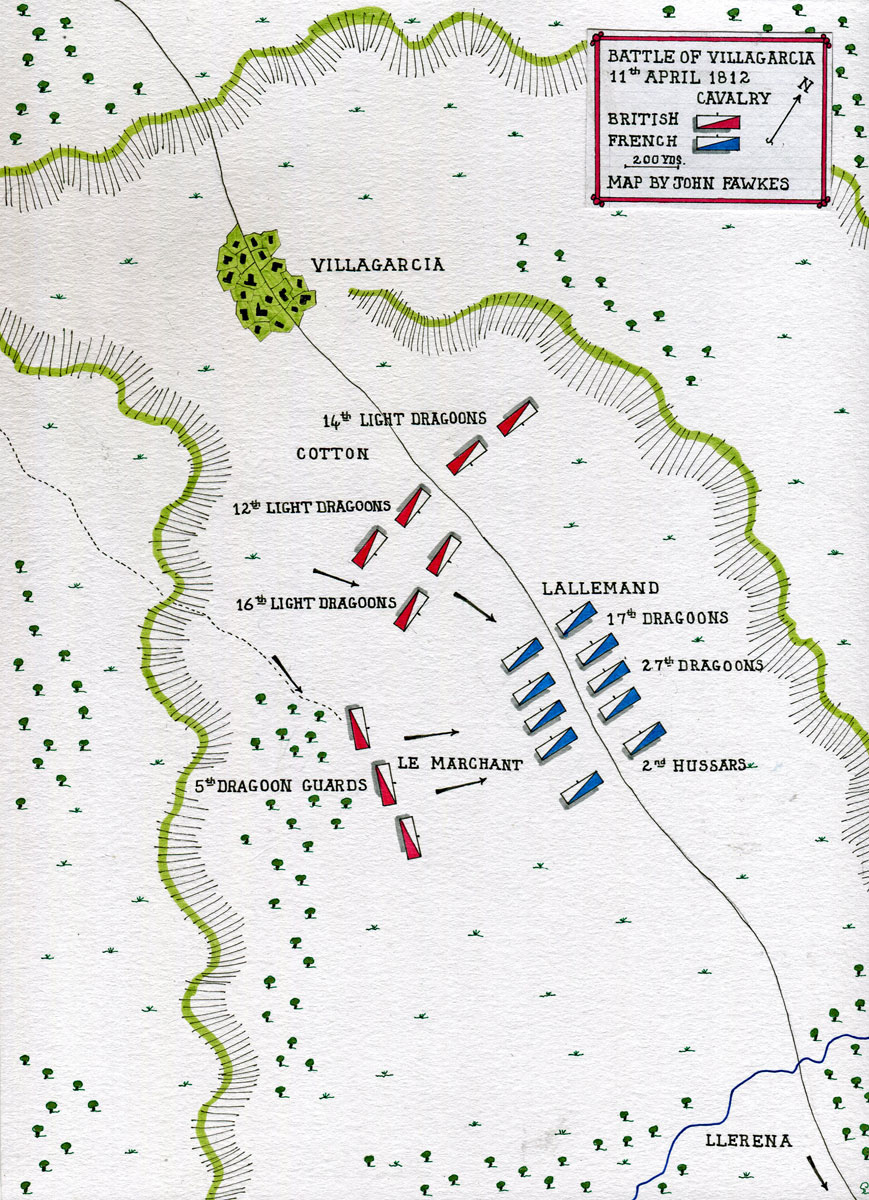 Map of the Battle of Villagarcia on 11th April 1812 in the Peninsular War: map by John Fawkes