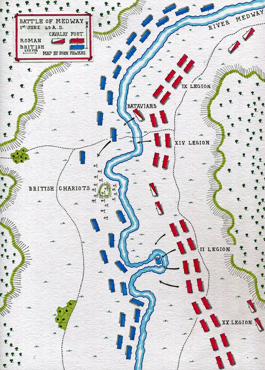 Map of the Battle of Medway on 1st June 43 AD in the Roman Invasion of Britain: map by John Fawkes