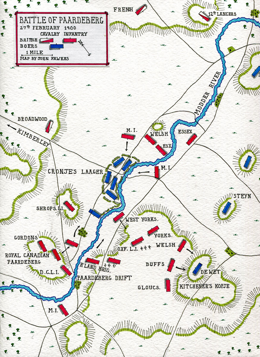 Map of the Battle of Paardeberg on 27th February 1900 in the Great Boer War: map by John Fawkes
