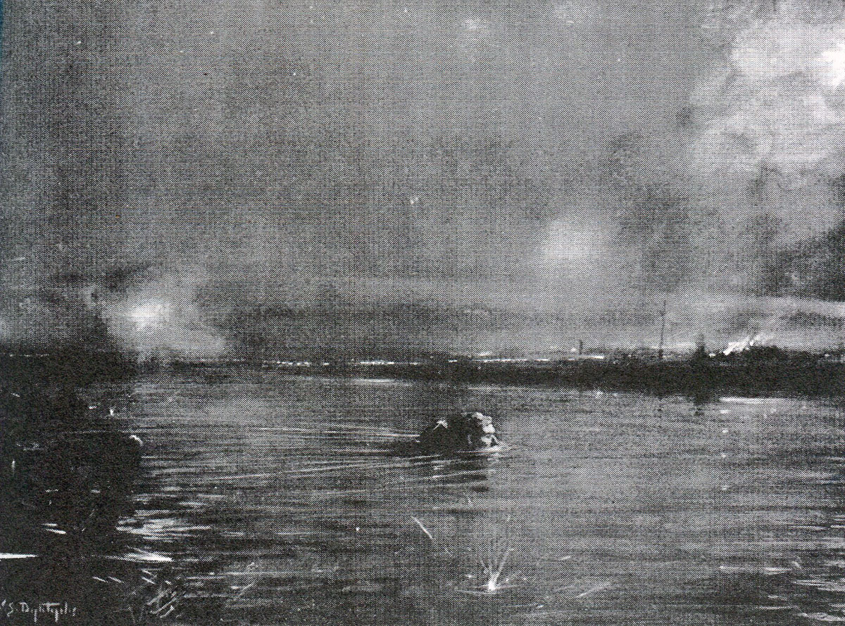 Private Price of the 15th Hussars swimming the canal to warn of the impending German attack, winning the DCM: Battle of Landrecies on 25th August 1914 in the First World War